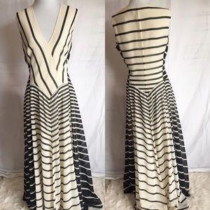 Halston Heritage striped A-line gown 10 v neck